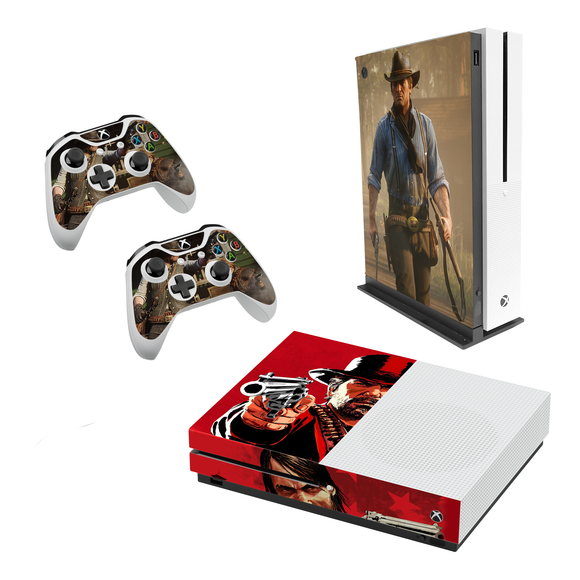 Red Dead Redemption Decal Style Skin Set fits XBOX One S Console and 2 Controllers