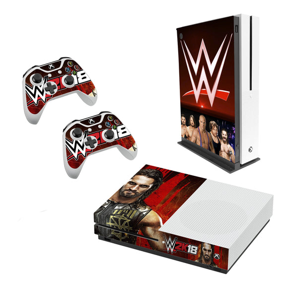 WWE 2K18 -Decal Style Skin Set fits XBOX One S Console and 2 Controllers