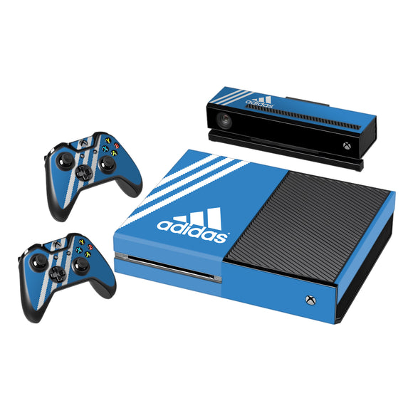 Vinyl Decal Protective Skin Cover Sticker for Xbox One Console and 2 Controllers -Adidas Blue Stripe