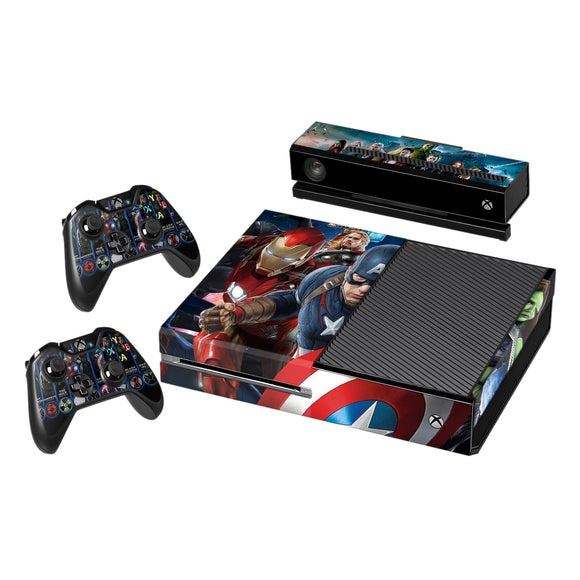 Vinyl Decal Protective Skin Cover Sticker for Xbox One Console and 2 Controllers -Avengers