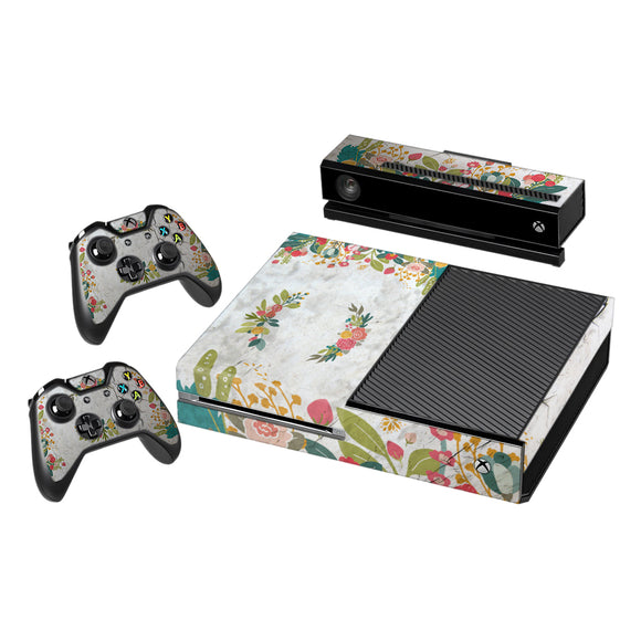 Vinyl Decal Protective Skin Cover Sticker for Xbox One Console and 2 Controllers -Concrete Flowers