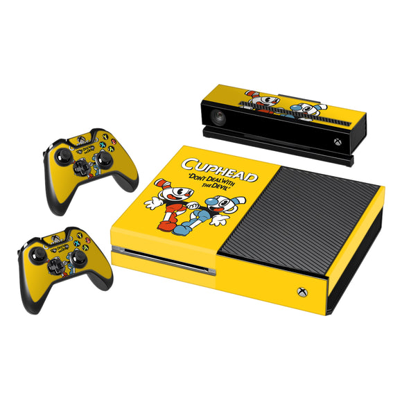 Vinyl Decal Protective Skin Cover Sticker for Xbox One Console and 2 Controllers -Cuphead