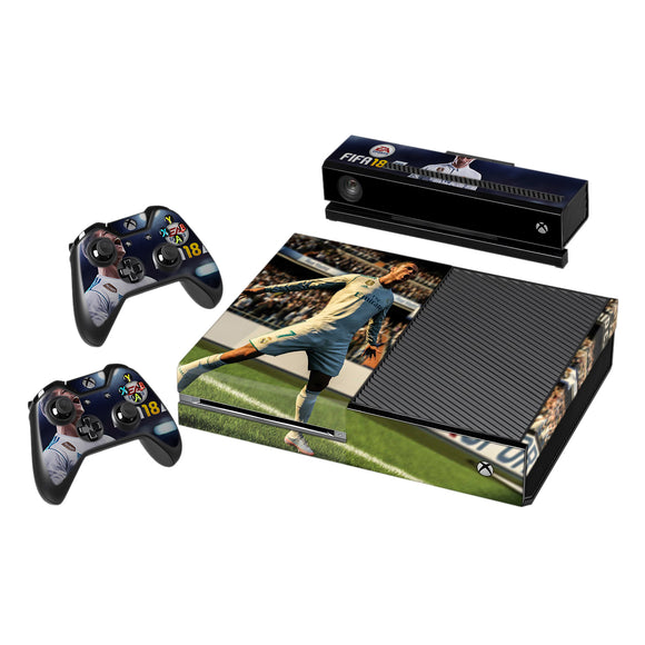 Vinyl Decal Protective Skin Cover Sticker for Xbox One Console and 2 Controllers -Fifa 18