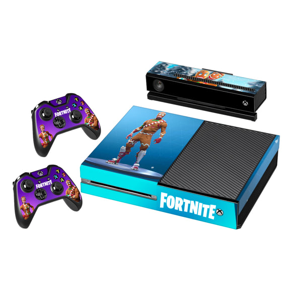 Fortnite- Vinyl Decal Protective Skin Cover Sticker for Xbox One Console and 2 Controllers Gingerbread