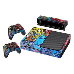 Vinyl Decal Protective Skin Cover Sticker for Xbox One Console and 2 Controllers -Graffiti