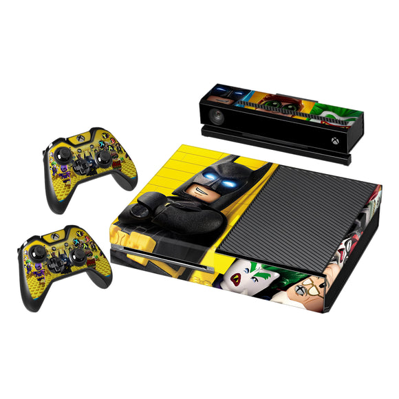 Vinyl Decal Protective Skin Cover Sticker for Xbox One Console and 2 Controllers -Lego Batman