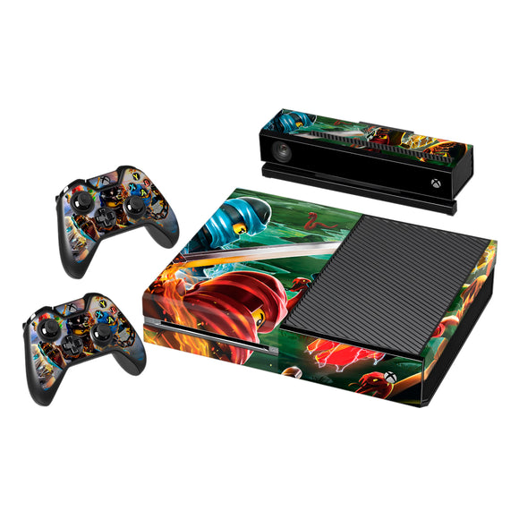 Vinyl Decal Protective Skin Cover Sticker for Xbox One Console and 2 Controllers -Lego Ninjago