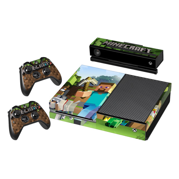 Vinyl Decal Protective Skin Cover Sticker for Xbox One Console and 2 Controllers -Minecraft