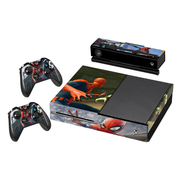 Spider Man Vinyl Decal Protective Skin Cover Sticker for Xbox One Console and 2 Controllers