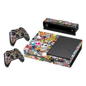 Vinyl Decal Protective Skin Cover Sticker for Xbox One Console and 2 Controllers  -Sticker Bomb