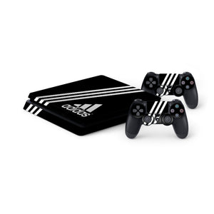 Adidas Black Stripe -Protective Vinyl Skin Decal Cover for PlayStation 4 Slim Console & 2 Controllers
