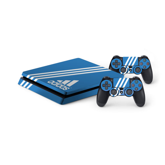Adidas Blue Stripe -Protective Vinyl Skin Decal Cover for PlayStation 4 Slim Console & 2 Controllers