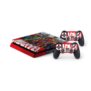 Marvel -Protective Vinyl Skin Decal Cover for PlayStation 4 Slim Console & 2 Controllers