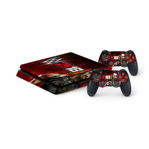 WWE 2K18 -Protective Vinyl Skin Decal Cover for PlayStation 4 Slim Console & 2 Controllers