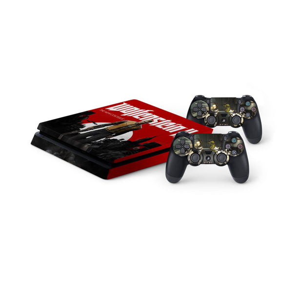 Wolfenstien 2 -Protective Vinyl Skin Decal Cover for PlayStation 4 Slim Console & 2 Controllers