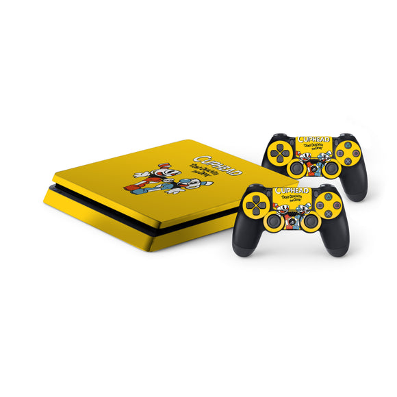 Cuphead -Protective Vinyl Skin Decal Cover for PlayStation 4 Slim Console & 2 Controllers