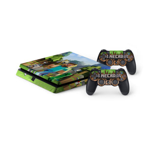 Minecraft Protective Vinyl Skin Decal Cover For Playstation 4 Slim Console 2 Controllers