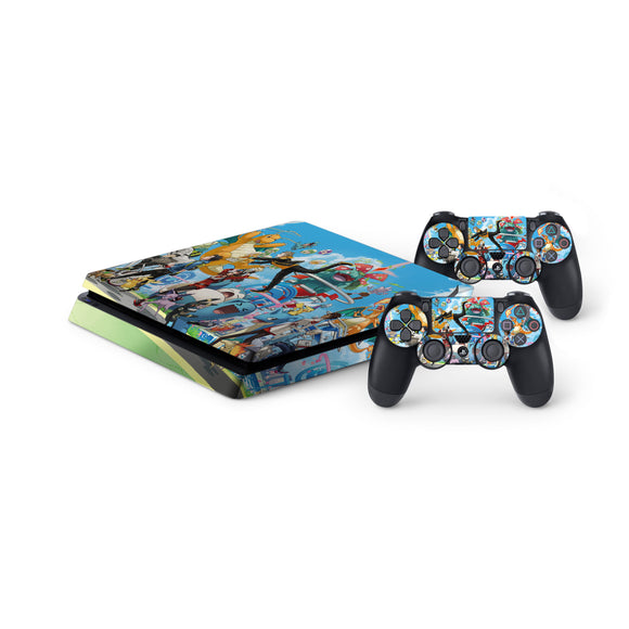 Pokemon -Protective Vinyl Skin Decal Cover for PlayStation 4 Slim Console & 2 Controllers
