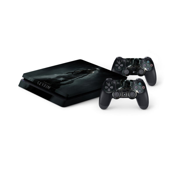 Skyrim -Protective Vinyl Skin Decal Cover for PlayStation 4 Slim Console & 2 Controllers