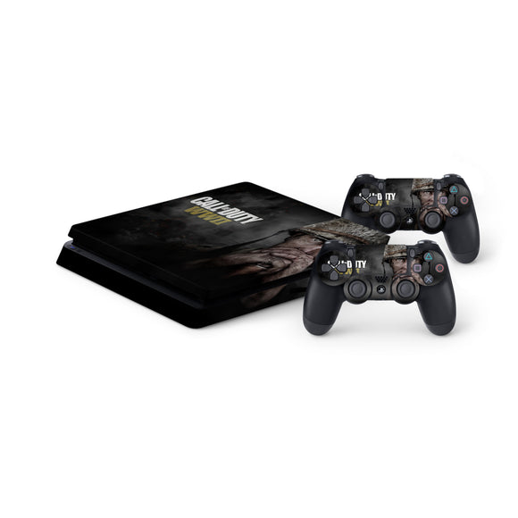 Call Of Duty WW2 -Protective Vinyl Skin Decal Cover for PlayStation 4 Slim Console & 2 Controllers