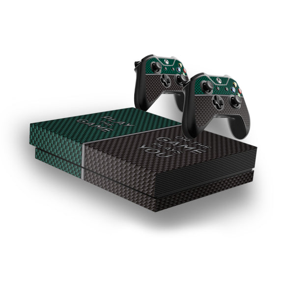 Play The Game -Protective Vinyl Skin Decal Cover for Xbox One X Console & 2 Controllers
