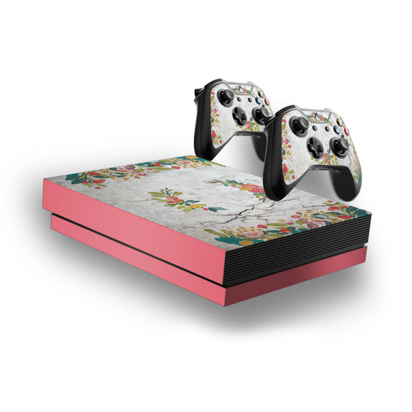Concrete Flowers -Protective Vinyl Skin Decal Cover for Xbox One X Console & 2 Controllers