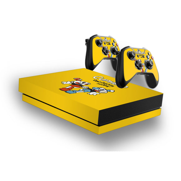 Cuphead -Protective Vinyl Skin Decal Cover for Xbox One X Console & 2 Controllers