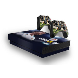 Fifa 18 -Protective Vinyl Skin Decal Cover for Xbox One X Console & 2 Controllers