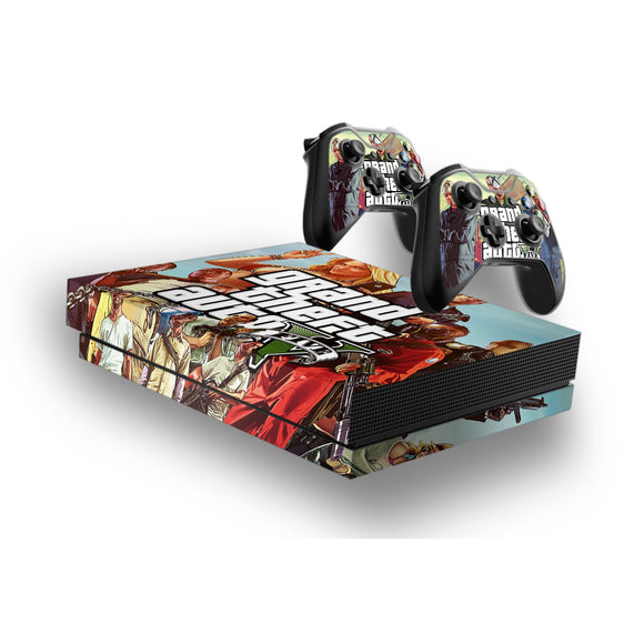 GTA 5 -Protective Vinyl Skin Decal Cover for Xbox One X Console & 2 Controllers