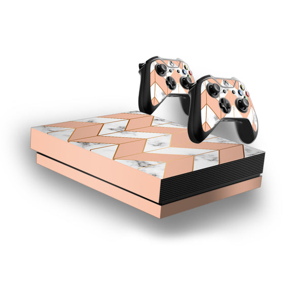 Marble Chevrons -Protective Vinyl Skin Decal Cover for Xbox One X Console & 2 Controllers