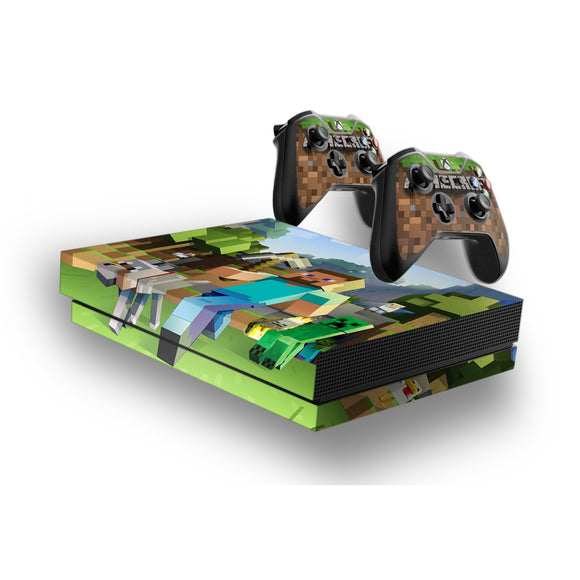 Minecraft  -Protective Vinyl Skin Decal Cover for Xbox One X Console & 2 Controllers