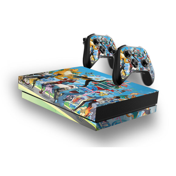 Pokemon -Protective Vinyl Skin Decal Cover for Xbox One X Console & 2 Controllers