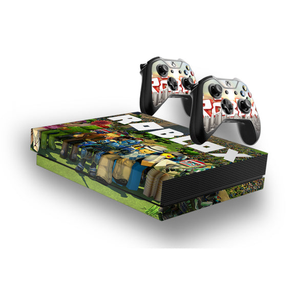 Roblox -Protective Vinyl Skin Decal Cover for Xbox One X Console & 2 Controllers