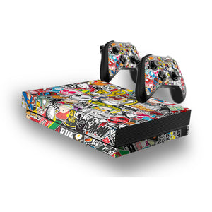 Sticker Bomb -Protective Vinyl Skin Decal Cover for Xbox One X Console & 2 Controllers