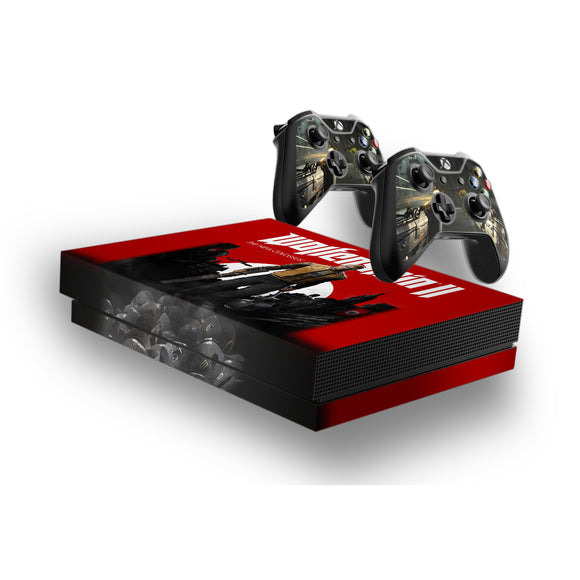 Wolfenstein -Protective Vinyl Skin Decal Cover for Xbox One X Console & 2 Controllers