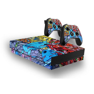 Graffiti -Protective Vinyl Skin Decal Cover for Xbox One X Console & 2 Controllers