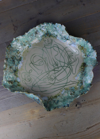 'The Women Wave' Ceramic Bowl/Disc 45cm