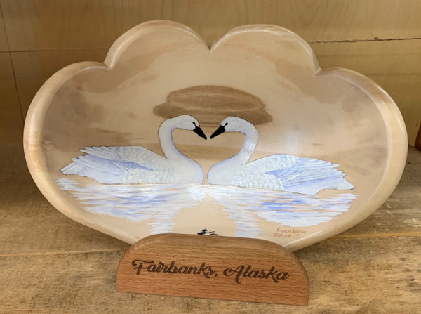 "9"" Double Heart Swan Love Art Bowl"