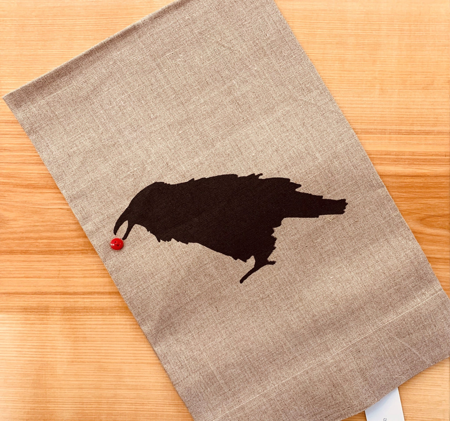 Raven with Berry Linen Towel