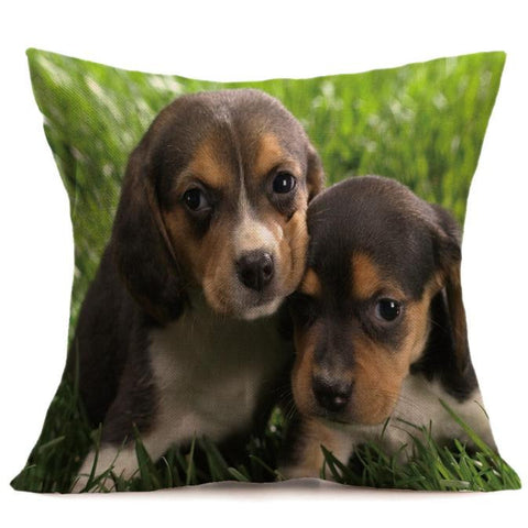 Vintage Cute Dog Pillow Case