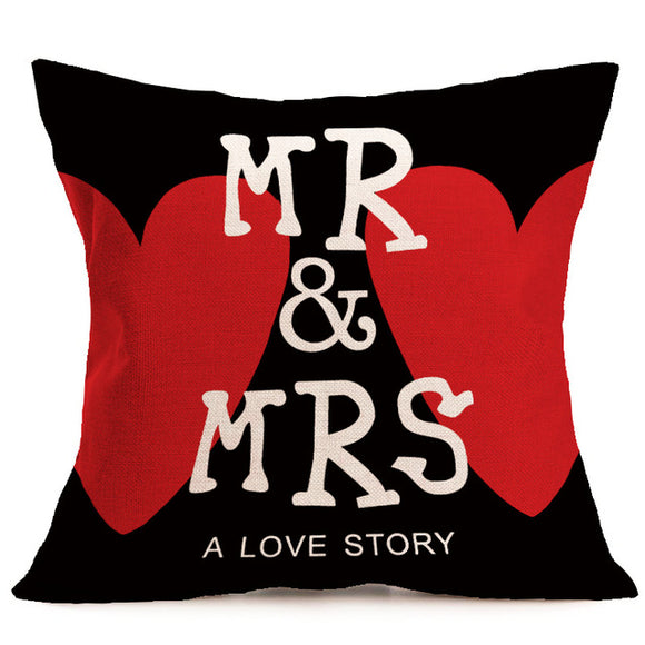 Pillow Cover 18 x 18 Inches - Mr and Mrs - A Love Story - Premium Pillow Store