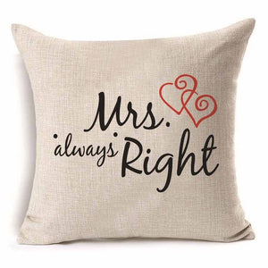 Mrs Always Right - Pillow Cover 18 x 18 Inches - Premium Pillow Store