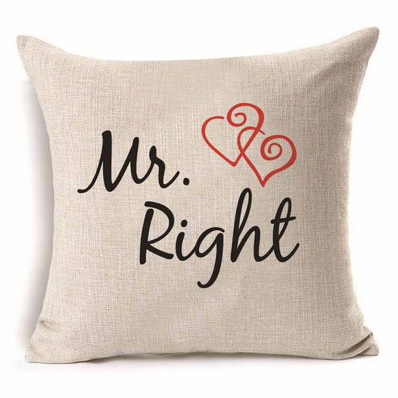 Pillow Cover 18 x 18 Inches - Mr Right - Premium Pillow Store