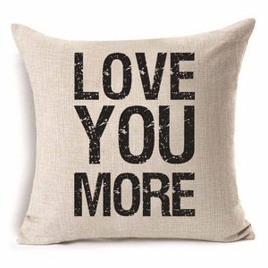 Pillow Cover 18 x 18 Inches - Love You More - Premium Pillow Store