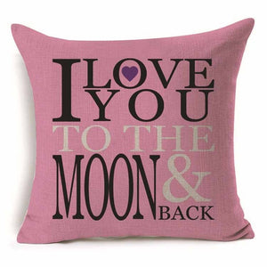 Pillow Cover 18 x 18 Inches - Love You To The Moon And Back - Premium Pillow Store