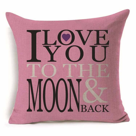 Love You To The Moon And Back - Pillow Cover 18 x 18 Inches - Premium Pillow Store