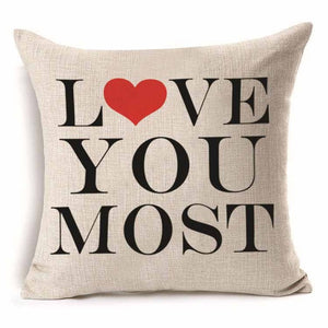 Love You Most - Pillow Cover 18 x 18 Inches - Premium Pillow Store