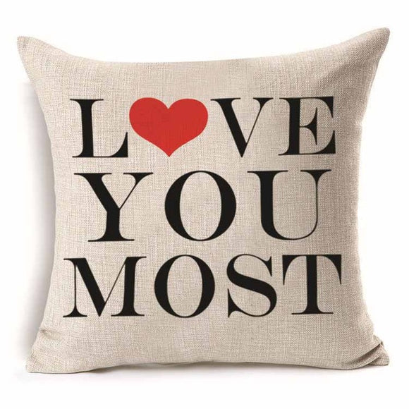 Pillow Cover 18 x 18 Inches, Love you Most - Premium Pillow Store
