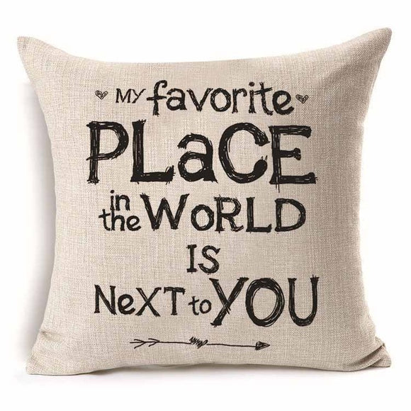 My Favorite Place in the World - Pillow Cover 18 x 18 Inches - Premium Pillow Store