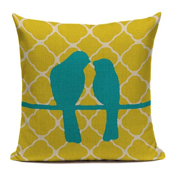 Fashionable Throw Pillow Cover Blue Birds on Yellow 18 x 18 inch - Premium Pillow Store
